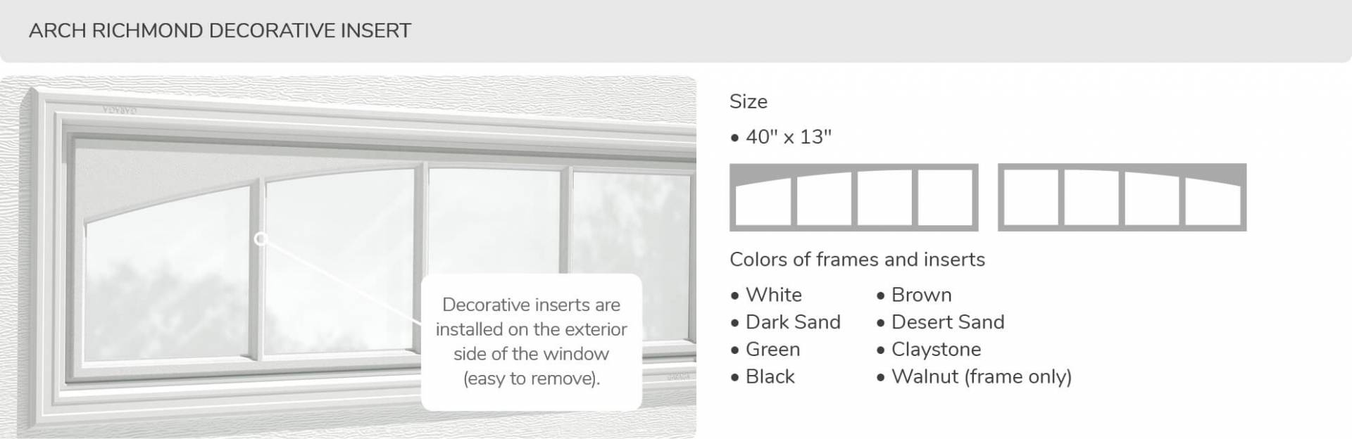Arch Richmond Decorative Insert, 40' x 13', available for door R-16