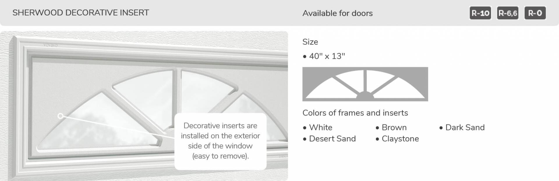 Sherwood Decorative Insert, 40' x 13', available for doors R-10, R-6.6, R-0