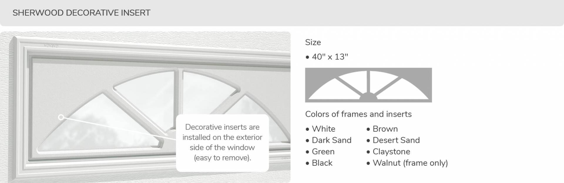 Sherwood Decorative Insert, 40' x 13', available for door R-16