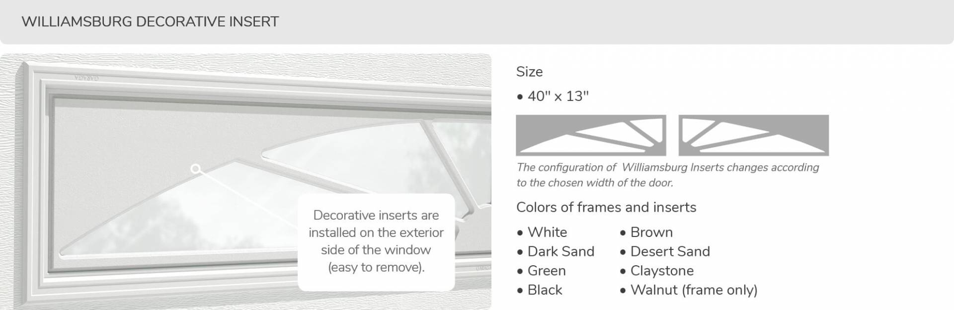 Williamsburg Decorative Insert, 40' x 13', available for door R-16