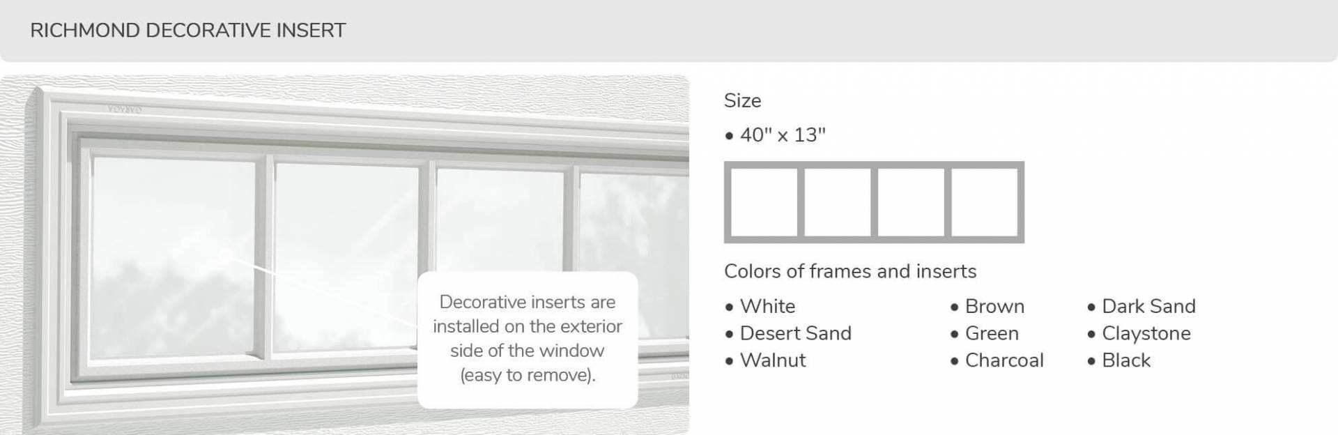 Richmond Decorative Insert, 40' x 13', available for door R-16