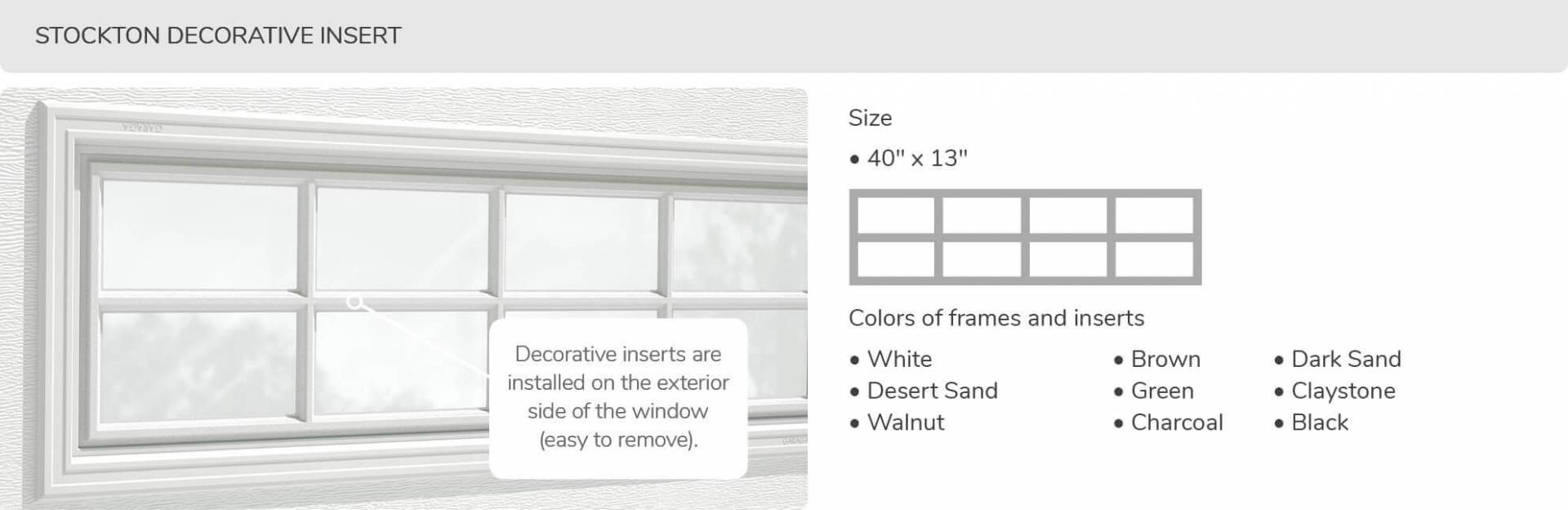 Stockton Decorative Insert, 40' x 13', available for door R-16
