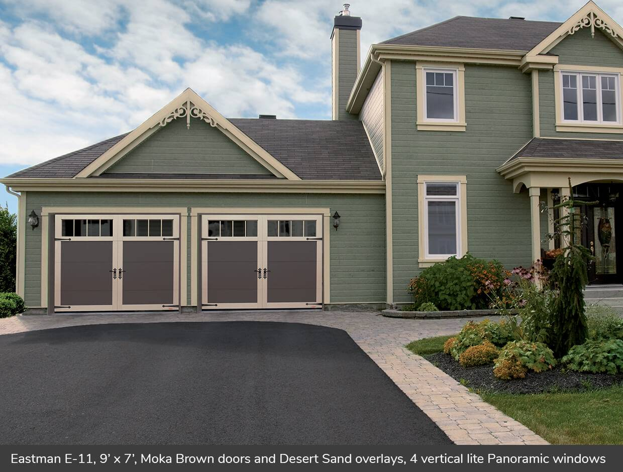 Eastman E-11, 9' x 7', Moka Brown doors and Desert Sand overlays, 4 vertical lite Panoramic windows